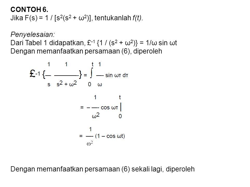 Jika F(s) = 1 / [s2(s2 + ω2)], tentukanlah f(t). Penyelesaian: